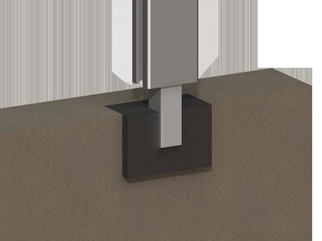 Poteau sur tube acier à sceller