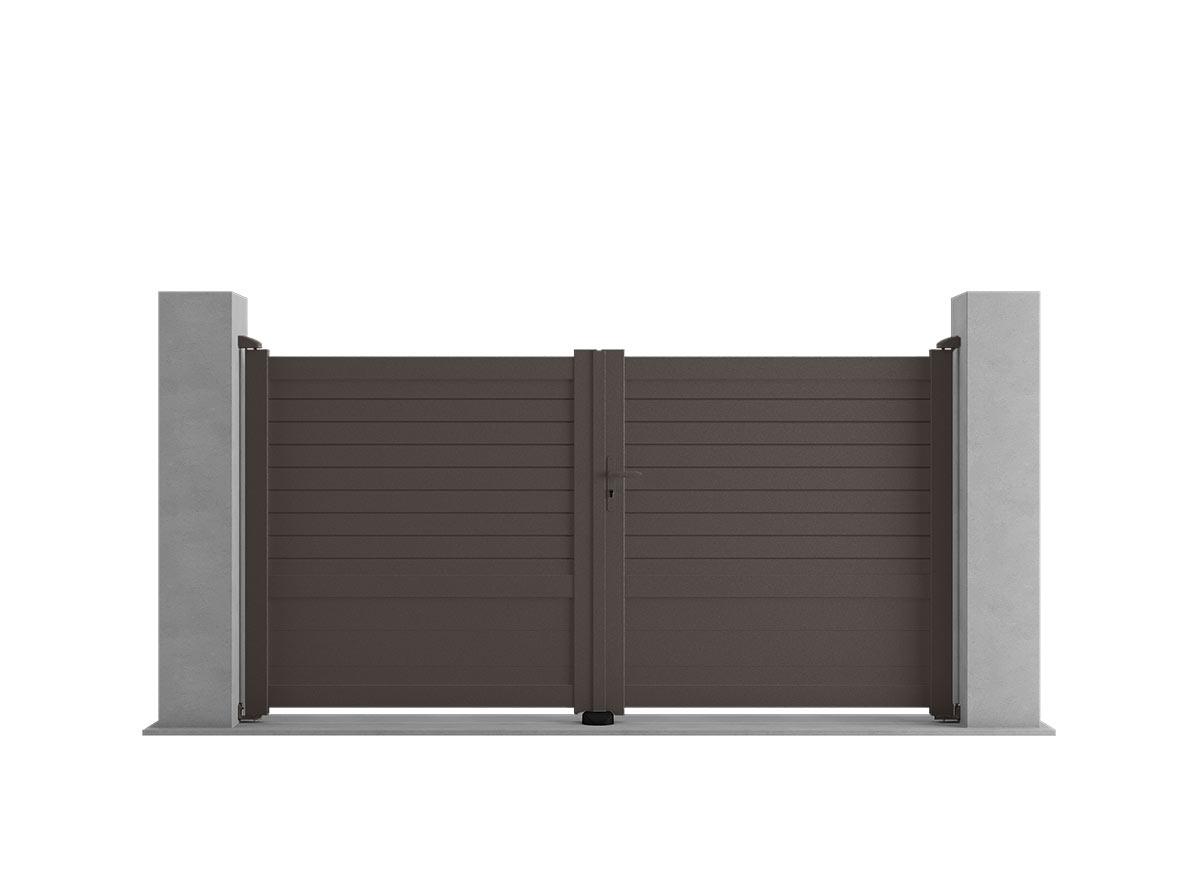 Portail aluminium Iroko par Ceklo